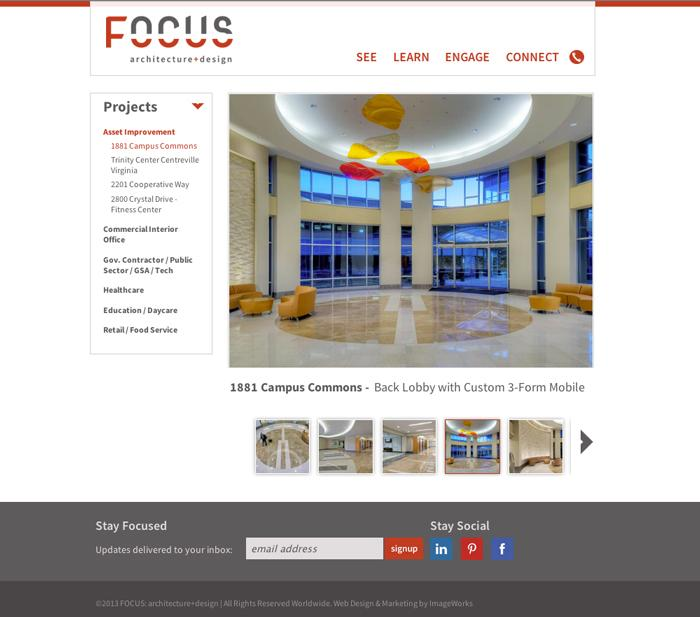 Gallery/portfolio subpage design for a local (VA/DC) architecture firm.